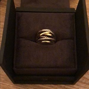 Crossover Wide Ring with 14K Gold